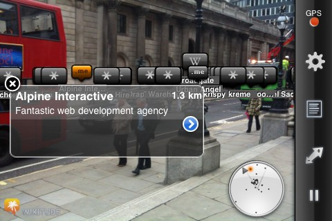 Wikitude augmented reality browser in London