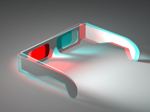 Colour 3D Anaglyph of 3D Anaglyph Stereoscopic Glasses